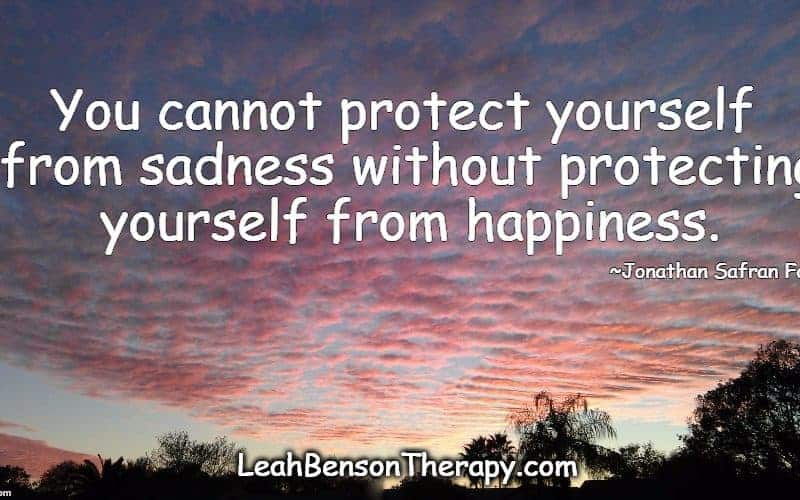LeahBensonTherapy.com, Protect Yourself from Sadness