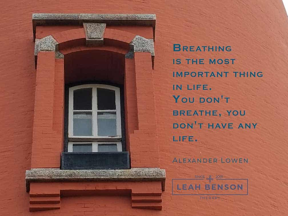 Ponce de Leon Lighthouse with Lowen's quote about breathing and Leah Benson Therapy's logo