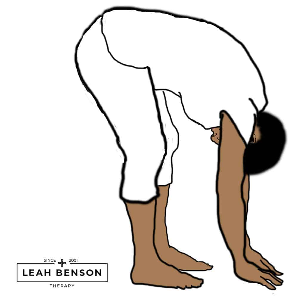 Illustration of grounding pose with Leah Benson Therapy logo