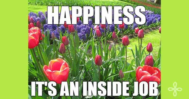 Happiness is an inside job written over photo of tulips