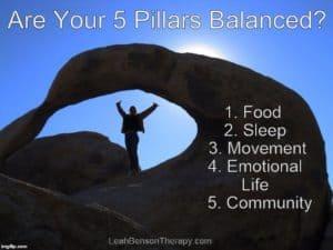 5 Pillars of Balance Quote Image, LeahBensonTherapy.com