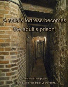 child's fortress = adult prison text written over photo of Paris basement