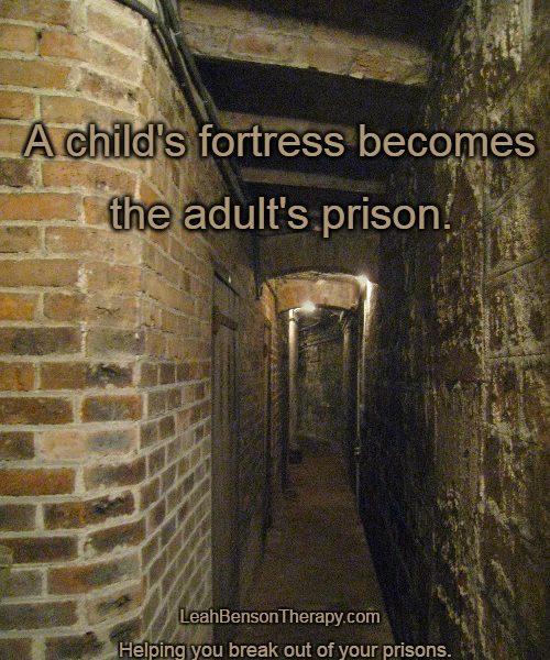 child's fortress = adult prison text written over photo of Paris basement