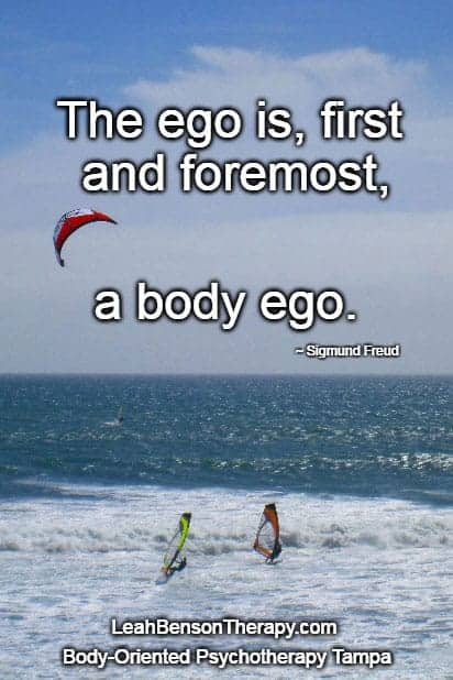 Ego quote from Freud superimposed on photo of windsurfers at Waddell Creek Beach