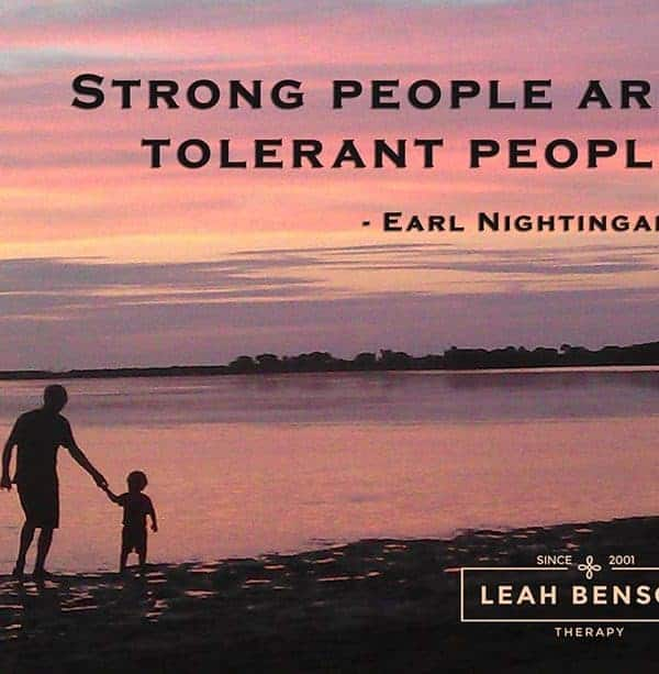 "Photo of father and son at Anclote State Park. Quote, ""Strong People are Tolerant People"""