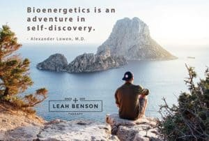 """Seated man overlooking the sea. Quote by Alexander Lowen, """"Bioenergetics is an Adventure in Self-discovery"""""""