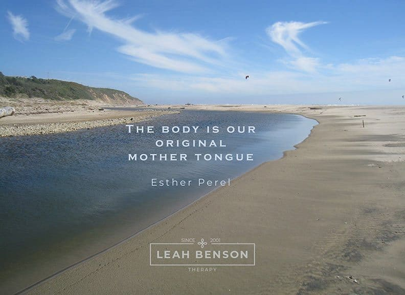 photo of Waddell Creek Beach, CA with a quote about body language and logo of LEAH BENSON THERAPY
