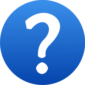 Big white question mark on blue background