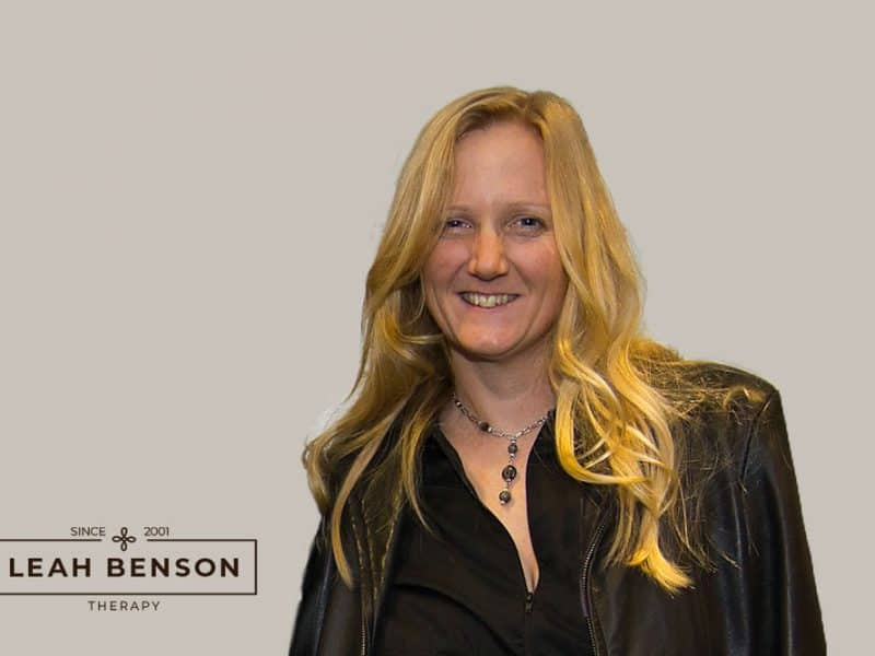photo of Leah Benson with Leah Benson Therapy logo