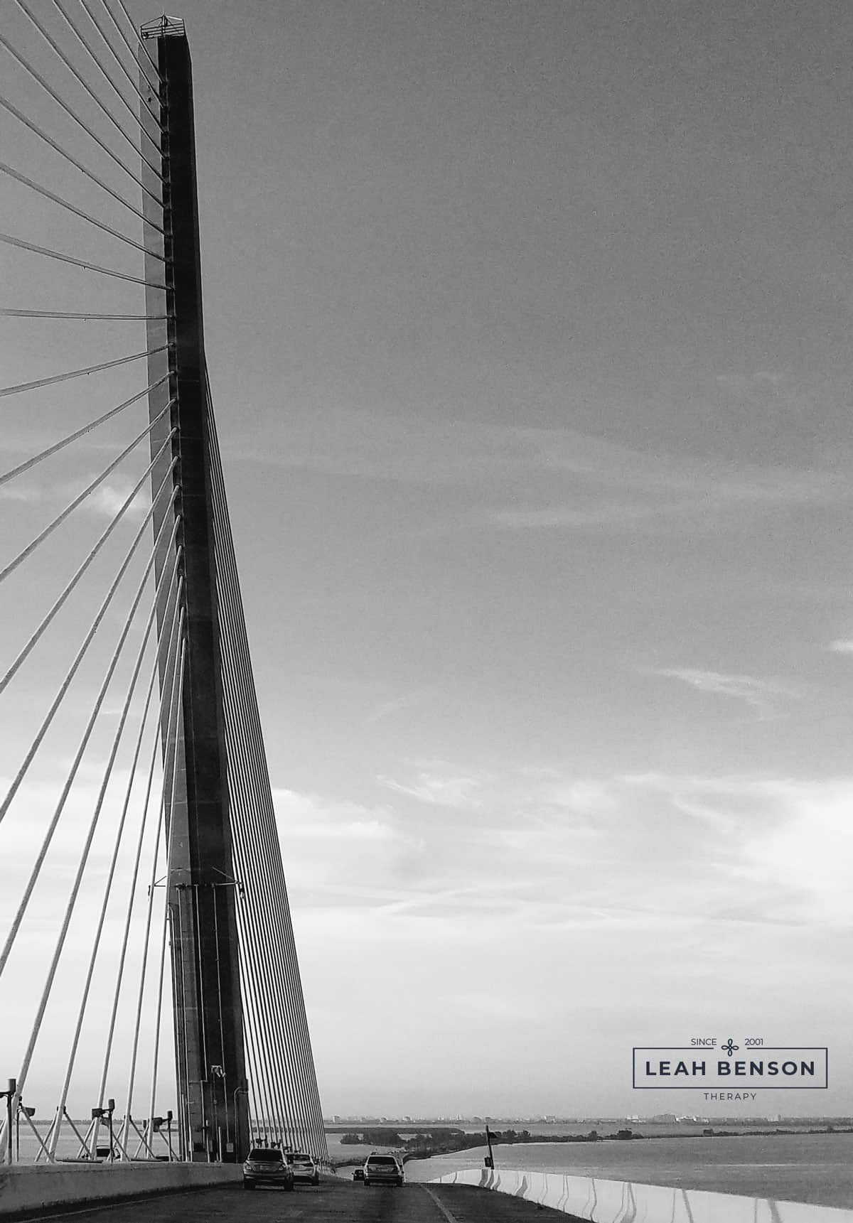 Photo of Sunshine Skyway bridge with Leah Benson Therapy logo