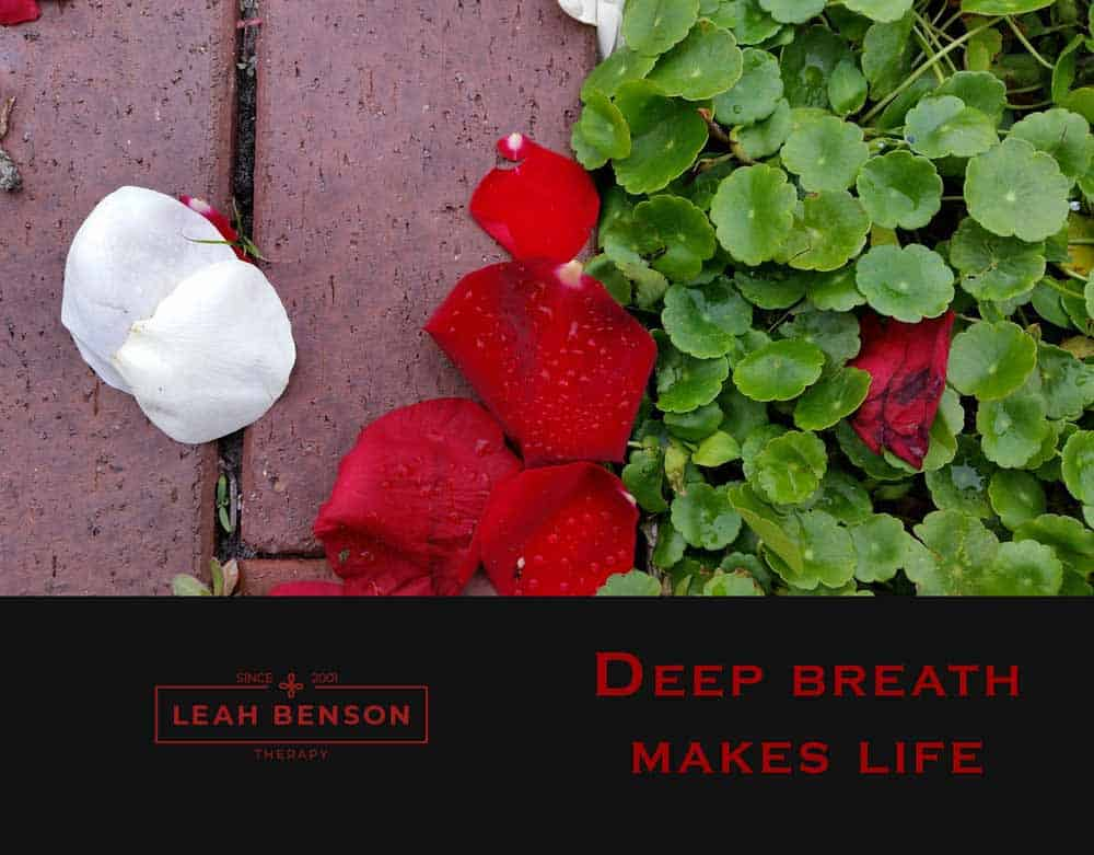 Deep Breath Makes Life. Leah Benson Therapy. Photo of rose petals on brick path.