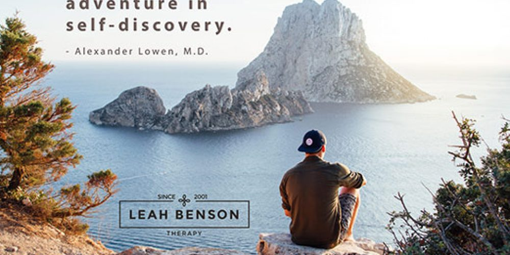 Bioenergetics is an Adventure in Self-discovery, quote by Alexander Lowen.Seated man overlooking the sea.