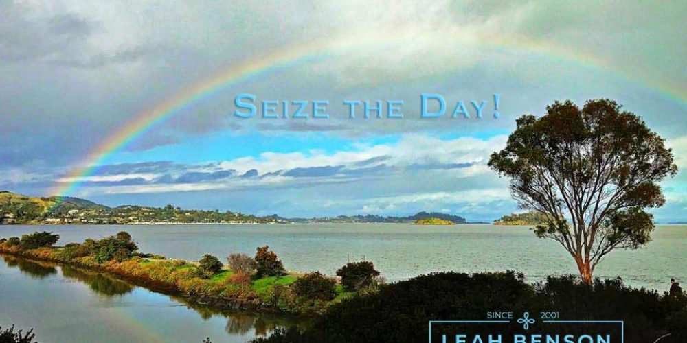 Color photo of rainbow over San Francisco bay with the words,