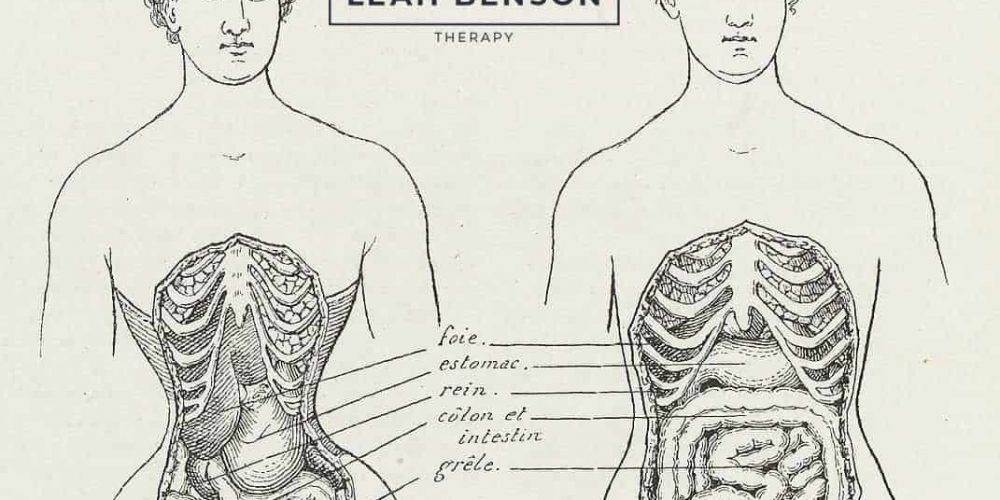 illustrations of woman's torso contorted by corset and one normal woman's torso. Illustration titled
