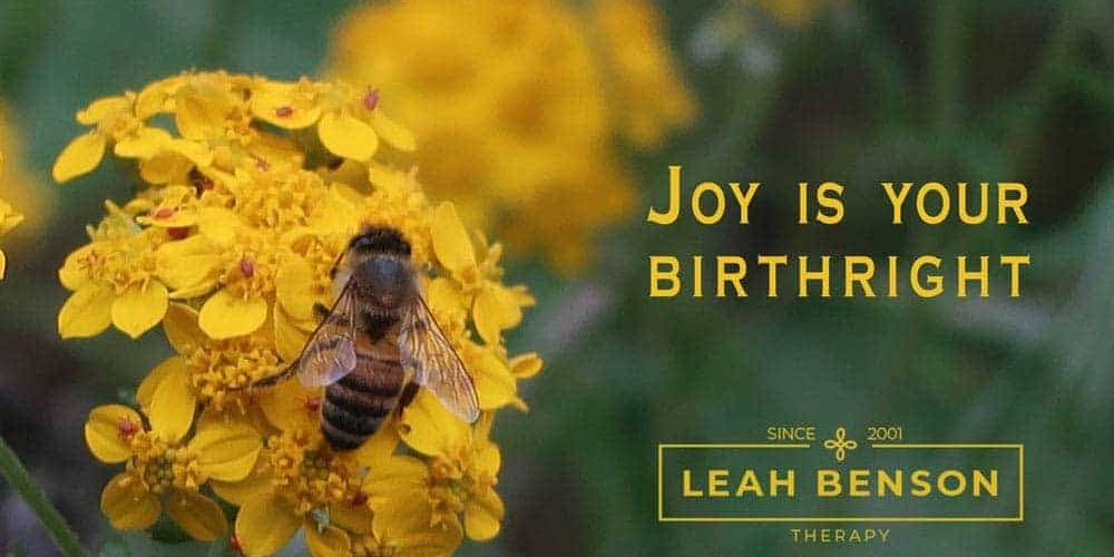 Joy is your Birthright. Photo of a bee and flower.